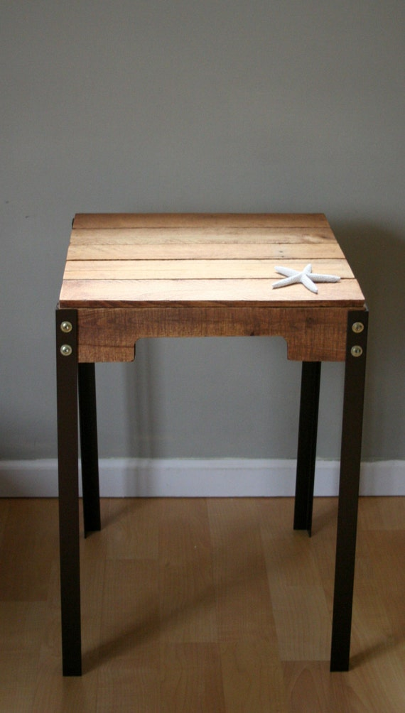 Items similar to rustic reclaimed wood side table with for Wood table iron legs