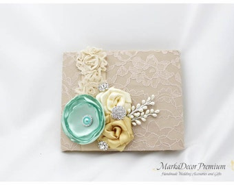 Wedding Lace Guest Book Custom Bridal Flower Brooch Guest Books in Champagne Ivory Aqua Mint and Gold