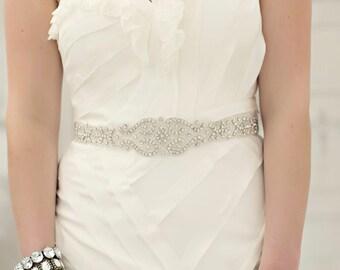 Crystal Wedding Sash, Wedding Sash, Bridal Belt, Bridal Sash, Crystal Sash, Crystal Belt, Beaded Sash, Rhinestone Sash, Sash - WYATT