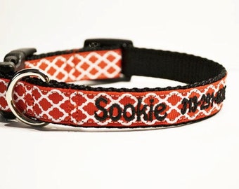 Personalized - Red Moroccan Dog Collar - Made to order
