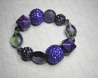 """Bohemian Jewelry, Purple Faceted Glass, Gift for Her, Lampwork, Ladies, Womens Chunky Stretch Bracelet """"Purpleicious"""""""