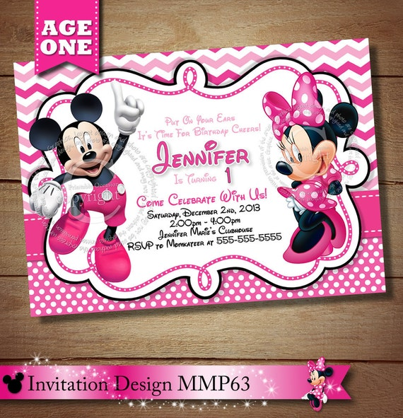 HUGE SELECTION Mickey Minnie Mouse Second Birthday Invitation – Mickey and Minnie Party Invitations