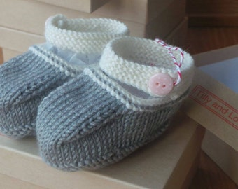 Hand knitted slate grey and cream Mary-Jane baby shoes  - 0-3, 3-6 and 6-9 months