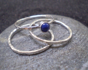 Lapis lazuli and sterling silver stacking ring - set of 3