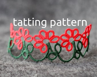 Gerbera edging - shuttle tatting pattern in PDF by littleblacklace, suitable for bracelet or choker - instant download