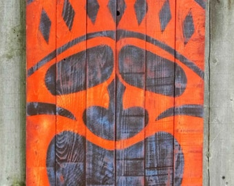 Tiki painting on reclaimed wood