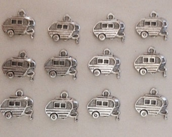 Set of 12 Pewter Trailer Camper Airstream Charms