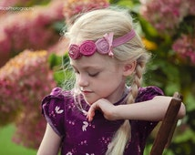 Dusty Pink  Mauve Headband ,Triple Rosettes Headband for girls of all ages on elastic