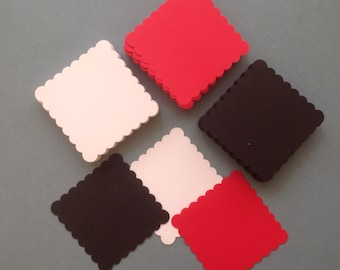 Clearance - 120 red, white and black die cut scalloped Squares (931)