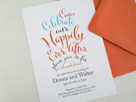 After The Wedding Party Invitations: Rehearsal Dinner Invitation Happily Ever After By InvitedToo