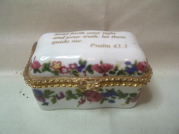 Imperial Porcelain Trinket Box Psalm 43 3 Gold Trim Pink Roses