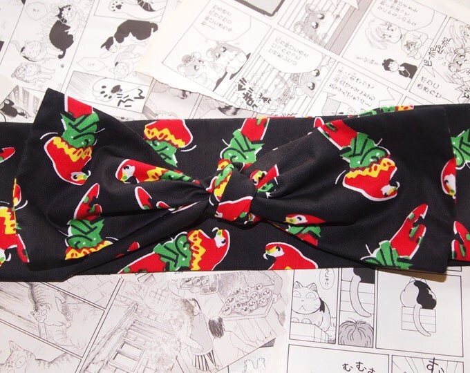50s Vtg Tropical Parrot Bow Head Scarf - Rockabilly Psychobilly Pin Up Girl Cute Steampunk Vintage Classic Dancing Party Isand Sand Sun
