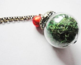 Necklace Giassbottle real moss