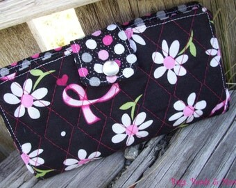 Breast Cancer Awareness Checkbook Cover, Quilted Coupon Wallet