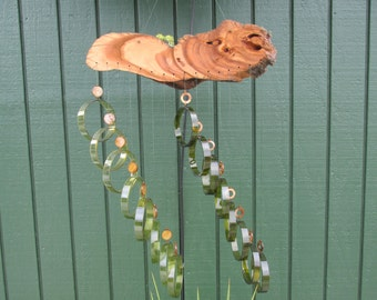 Double Wind Chime, Recycled wine bottle wind chime, juniper wood, Dk. Green and amber glass, beads, circle glass