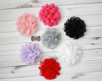 MORE COLORS-HEADBAND option-Lace Flower Clip-Lace Flower-Boutique Style-Blossom Flower-Toddler Clip--Flower Clip-Lacey-Peach-Hot Pink