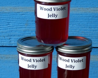 8 ounce jar, Wild Wood Violet Jelly, small batch, Naturally Grown, wildcrafted, Pacific Northwest, Oregon