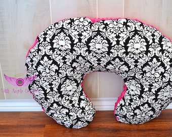 Michael Miller Black Dandy Damask and Pink Minky Boppy Pillow Cover