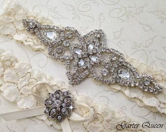 BEST SELLER Ivory Lace Garter Set, Rhinestone Garter, Lace Wedding Garter Set, Bridal Garter Set, Crystal garter, White Lace Bridal Garter