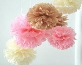Baby Girl Nursery - 7 Tissue Paper Pom Poms - Fast Shipping - also good for Wedding / Baby Shower / Birthday Party