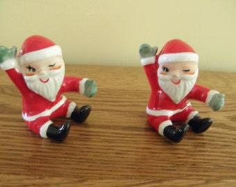 Pair of Winking Santa Candle Climbers  - Japan