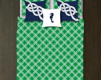Custom Preppy Octagon-Chain Link Bedding Set-Duvet Cover-Shams-Green-Navy Blue-White-Twin-Full/Queen-King-Bedding-Bedroom-Bed-Kids Room-Girl