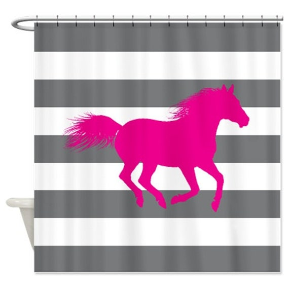 pink grey shower curtain. Like this item  Horse Shower Curtain Hot Pink Grey