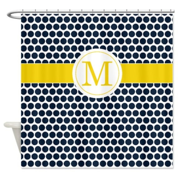 Polka Dots Shower Curtain Navy Blue Yellow White Customize