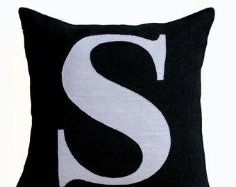 Personalized Monogram Throw Pillow, Burlap Pillows, Black White Monogram Cushion, Applique, initial Pillow, Decorative Throw Pillows, 16x16