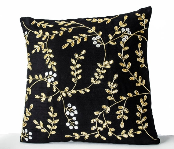 Items similar to Decorative Pillows, Black Gold throw pillows with sequin detail, Leaf pillow ...