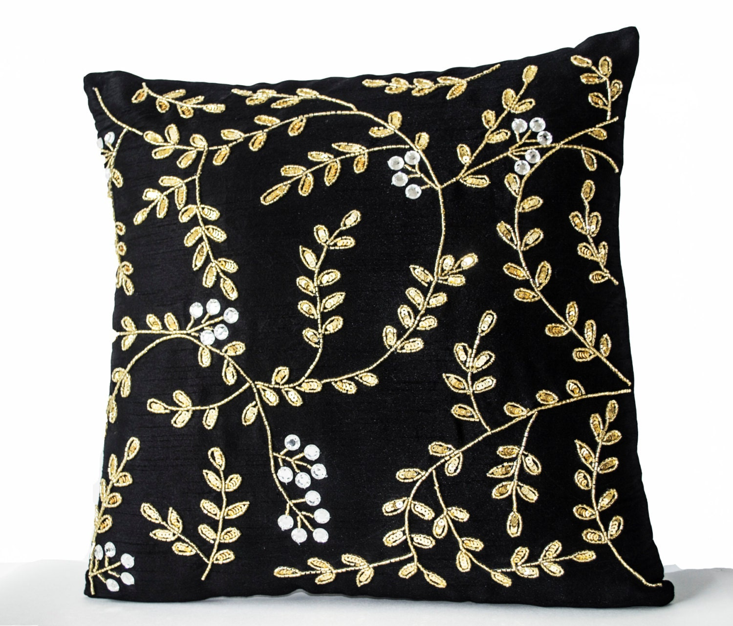 Decorative Pillows Black Gold throw pillows with sequin