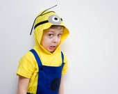 Minion Halloween Costume, Single Eye, Blue Overall Shorts and Yellow Hooded Tshirt, Toddlers Costume