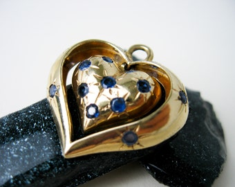 1950s Large 14K Gold Heart within a Heart Pendant/ Charm, with 14 Genuine Blue Sapphires, USA.