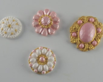 6 Hand-Painted Fondant Jeweled Brooches for decorating cakes or cupcakes