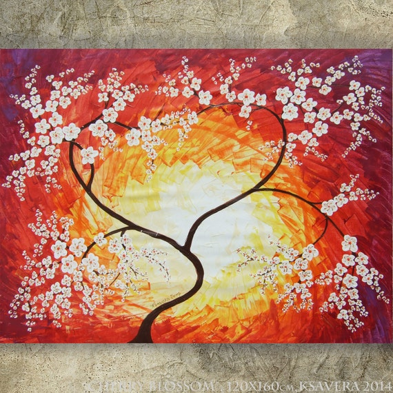 Items similar to cherry blossom large painting 48 x64 red for Canvas painting of cherry blossoms