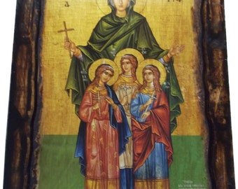 Saint St. Sophia - Orthodox Byzantine icon on wood handmade (22.5 cm x 17 cm)