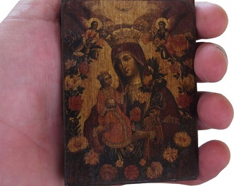 Virgin Mary - The Unwithering Rose - Orthodox Byzantine icon on wood (8.4 cm x 6.3 cm)