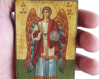 Archangel Michael - Orthodox Byzantine icon on wood (8.4 cm x 6.3 cm)