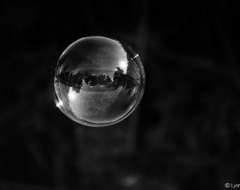 """Black and White Photography - black and white bubble photograph, home decor, bubble art, abstract wall print - bubble photography - """"Lift"""""""