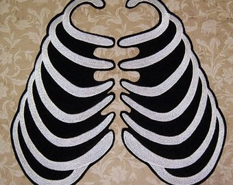 Ribcage Skeleton Bones Iron On Embroidery Patch MTCoffinz (pair)