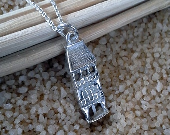 "Sterling Silver Architectural Building Necklace on 18"" chain (st - 539)"