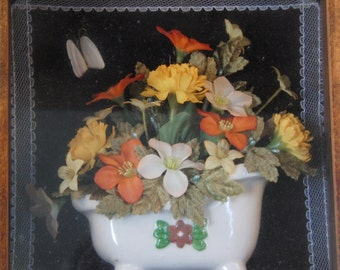 Vintage Victorian style flowers and butterfly in the tub picture