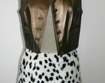 CHANEL BRONZE METALLIC Leather Waistcoat