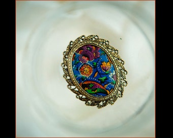 Large hand painted vintage scarf clip - Blue and gold glitter flower print scarf clip