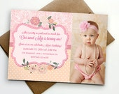 Pretty in Pink Girl's 1st Birthday Party Invitation - Printable