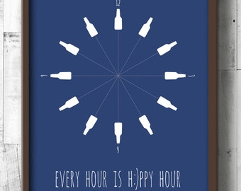 Beer Poster - Beer Wall Art - Dining Room Prints - Every Hour is Happy Hour - Beer Bottle Decor - Kitchen Wall Decor - Gifts for Manly Men