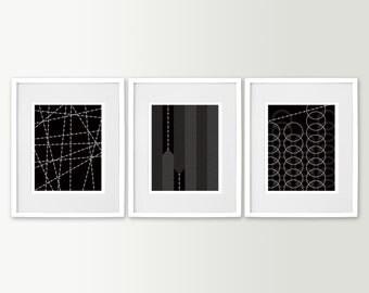 Black & White Art Prints - Living Room Art - Black and White Wall Art - Modern Home Decor Set of 3 Prints  - Modern Art - Geometric Art