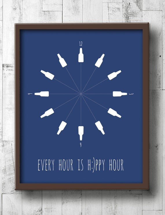 Beer poster beer wall art dining room prints every hour for Dining room artwork prints