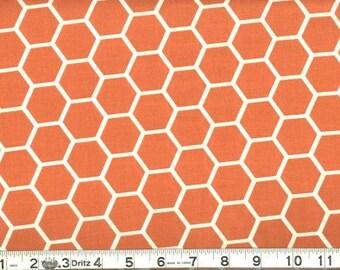 Fabric Honeycomb White on Orange Hexagon Cotton 1 Yard
