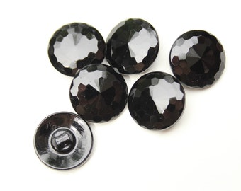 Vintage Black Czech Glass Faceted Buttons 7/8""